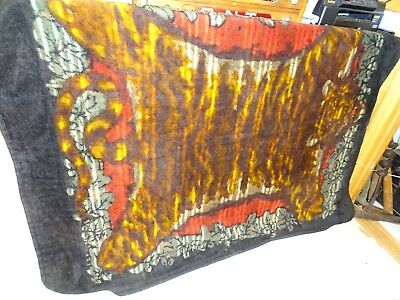 Antique Chase Large Heavy Carriage Sleigh Lap Blanket Tiger Pattern Nice !!