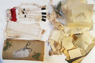 LOT antique LACE EMBROIDERY FLOSS PATTERNS w HANDMADE EMBROIDERED ORGANIZER
