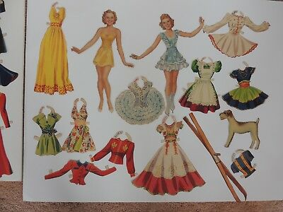 48+ Vintage Sonja Henie Paper dolls large lot 1930s figure skating cut uncut