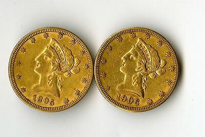 1895 & 1906 S Gold $10 Liberty Eagle Coins