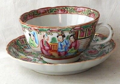 Chinese Canton Cup And Saucer Decorated With Various People