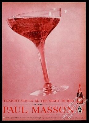 1960 Paul Masson wine California sparkling burgundy glass photo vintage print ad