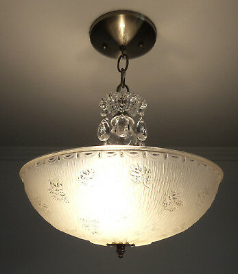 Antique 1930s-40s Vintage Art Deco Beige Glass Ceiling Light Fixture Chandelier