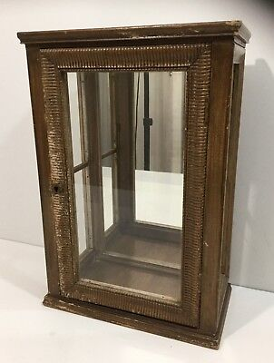 Nice Small Antique Wood Display Case Cabinet Mirrored Back Original Surface