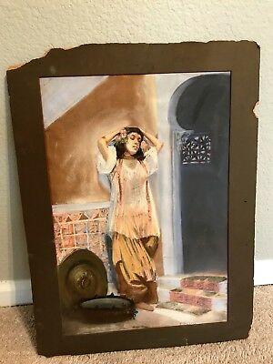 Antique Chalk Art Painting Signed E. Kebbo Original 1800's - Early 1900's Woman