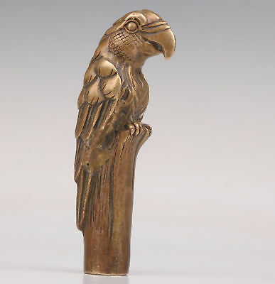 Cane Walking Stick Head Bronze Parrot Statue Collectable