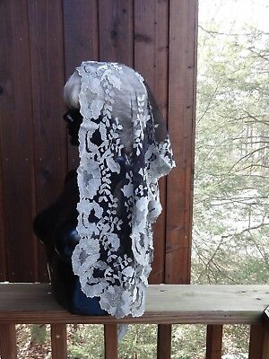Vintage Estate Black Grey Silver Lace Mantilla Chapel Veil