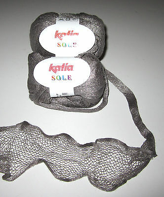 Lot of 2 balls of SILVER Katia SOLE cotton nylon ruffle scarf knitting yarn #53