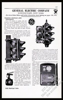 1933 General Electric traffic signal stop light 3 models photo vintage print ad