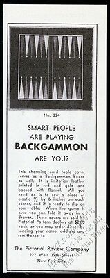 1931 backgammon game board photo Pictorial Review vintage print ad
