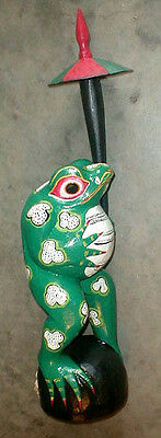 Frog Statue Large 20 inch with umbrella Hand carved in Bali Bright colors