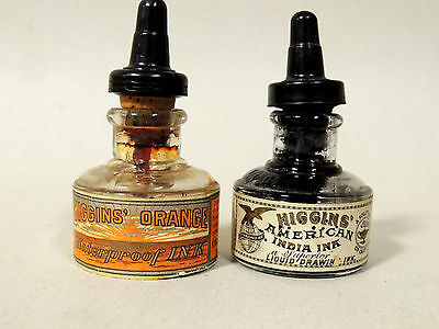 2 Rare Antique vtg c1920 HIGGINS INK BOTTLE Original Paper Label India & Orange