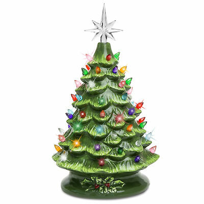 BCP 15in Pre-Lit Hand-Painted Ceramic Tabletop Christmas Tree w/ Lights - Green