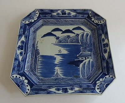 """Rustic VTG  Japanese blue  white square charger 12"""" Hallmarked 1860s antique"""