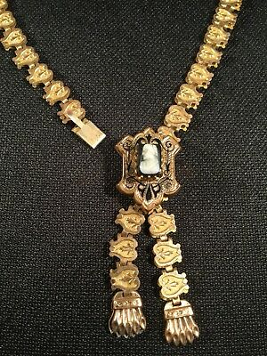 Antique Victorian 14K Yellow Gold Plated Bookchain Bible Marker Necklace Cameo