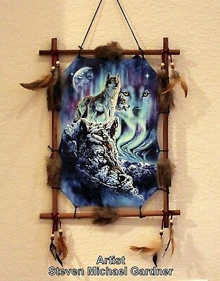 Indian Frame Mandella Picture Wolf Dream Catcher 22x16 beads feathers By Gardner