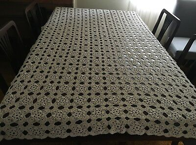 CROCHET Beige,  Rectangular Tablecloth 115 x 180cm  - Beautiful Piece