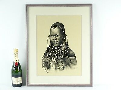 Art Sale : Original ink & Charcoal Drawing African Girl Signed lower Right