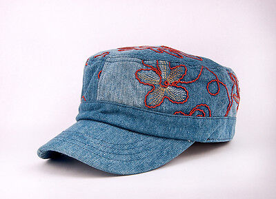 599ce224678 M460 Blue Cute Embroidered Floral Jeans Women s Baseball Cap Summer Sun Hat  NWT