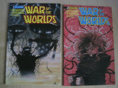 WAR of the WORLDS : issues 1 & 2 of the 5 ISSUE 1988 SERIES by ETERNITY COMICS.