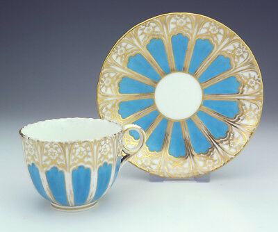 Antique English China - Turquoise Glazed & Gilded Cabinet Cup & Saucer - Early!
