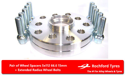 w201 Wheel Spacers 15 mm OE Bolts for Merc 190 Evolution 89-93 5x112 66.6 2