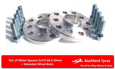 Wheel Spacers 20mm (2) 5x112 66.6 +Bolts For Merc C-Class C55 AMG [W203] 04-07