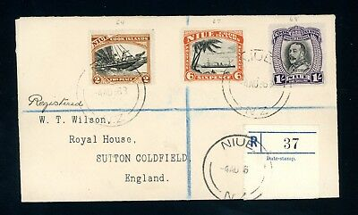 Niue  1936  Registered Cover  3  Values to England   (M256)