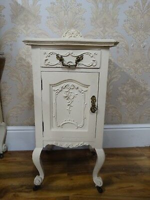 Antique Maple & Co painted bedside cabinet with drawer and cupboard