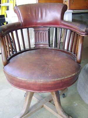 Antique Red Leather Capatins Desk Chair - Attic Find Country House Chabby Chic