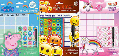Childrens Wipe Clean Reward Charts With Stickers & Pen Emoji Designs Weekly