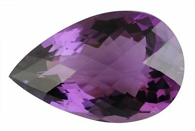 17x12mm PEAR-FACET CHECKER-CUT DEEP-PURPLE NATURAL AFRICAN AMETHYST (APP £243)