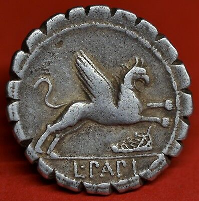 Beautiful Republican Silver Denarius Of L. Papius: Juno / Gryphon, 79 Bc. V.f+