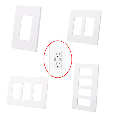 1-4 Gang Screwless Decorator GFCI Outlet Wall Plate Rocker Switch Cover