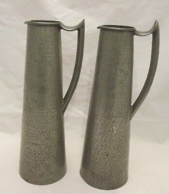 A Fine Pair of Art Nouveau Hand Hammered Pewter Jugs