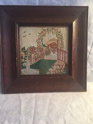 Vintage Embroidered Picture English Cottage Country Scene Wide Oak Frame Quaint