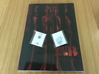 Brit Awards 2018 Offical Programme plus #times up white rose pin badges