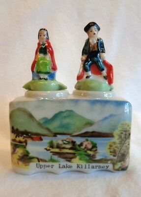 """CRESTED CHINA. authentic Victorian Welsh Cruet set with """"ROCKING POTS"""". RARE !!!"""