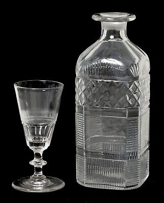 Excellent Antique Georgian Glass Spirit Wine Decanter & Glass