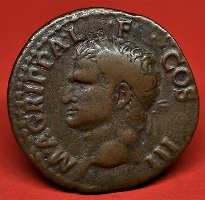 Quality Copper As Of Agrippa, Struck Under Caligula: Neptune, Rome, Ad 37-41. Vf