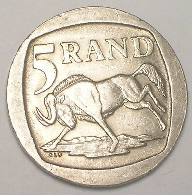 1995 South Africa African 5 Rand Wildebeest Arms Coin VF+