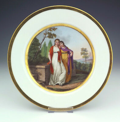 Antique Continental Porcelain Hand Painted Neo Classical Ladies Plate - Lovely!