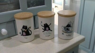 Portmerion Splat the Cat Lidded Storage Jars.