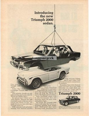 1965 Triumph 2000 4-door sedan Hanging over TR-4 Vtg Print Ad
