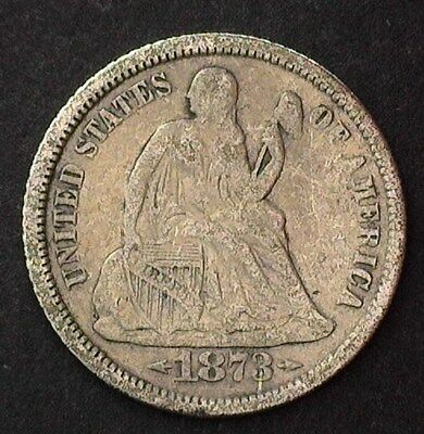 1873-Cc Seated Liberty Silver Dime  Very Fine+