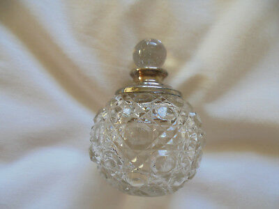 1922 Art Deco Silver Topped Perfume Bottle, Hob Nail Cut Glass, V/g/condition