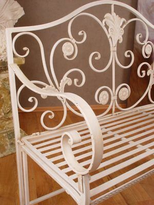 Iron Bench Garden Bank Shabby Chic Metal White Seat Country House
