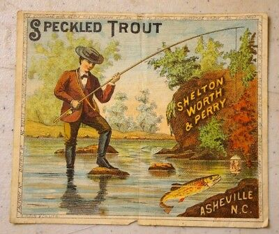 Antique Speckled Trout Cigar Tobacco Label Asheville NC. Shelton Worth & Perry