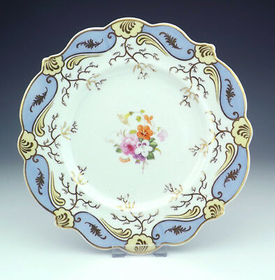 Antique English Porcelain - Hand Painted Flower Decorated Cabinet Plate - Early!