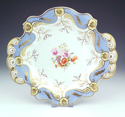 Antique English Porcelain Hand Painted Flower Decorated Cake Plate - Lovely!